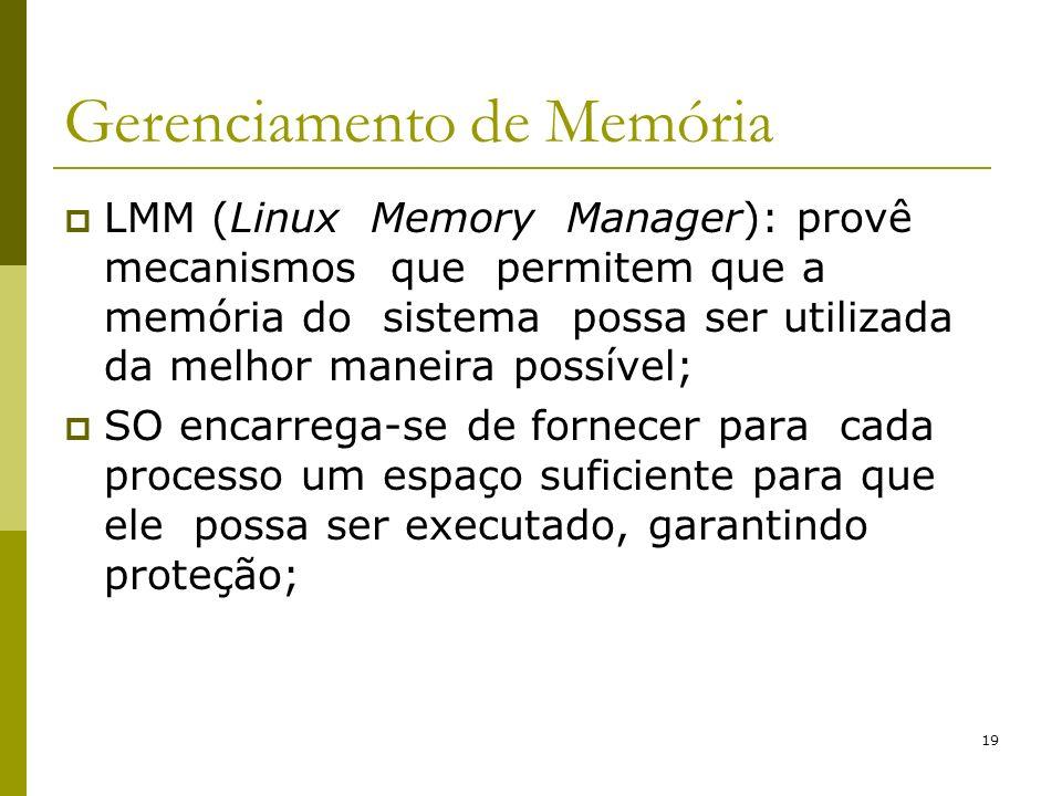 19 Gerenciamento de Memória LMM (Linux Memory Manager): provê mecanismos que permitem que a memória do sistema possa ser utilizada da melhor maneira p