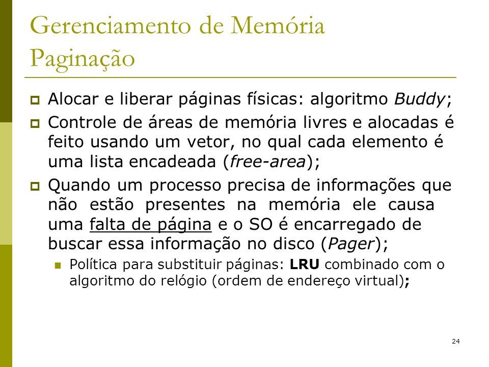 24 Gerenciamento de Memória Paginação Alocar e liberar páginas físicas: algoritmo Buddy; Controle de áreas de memória livres e alocadas é feito usando