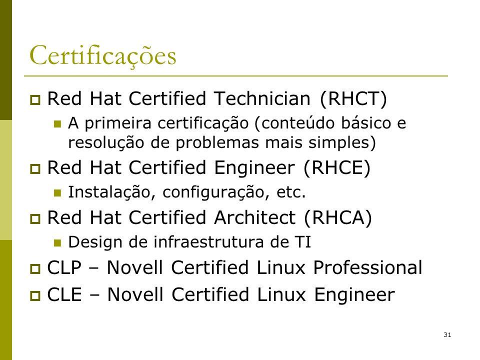 31 Certificações Red Hat Certified Technician (RHCT) A primeira certificação (conteúdo básico e resolução de problemas mais simples) Red Hat Certified