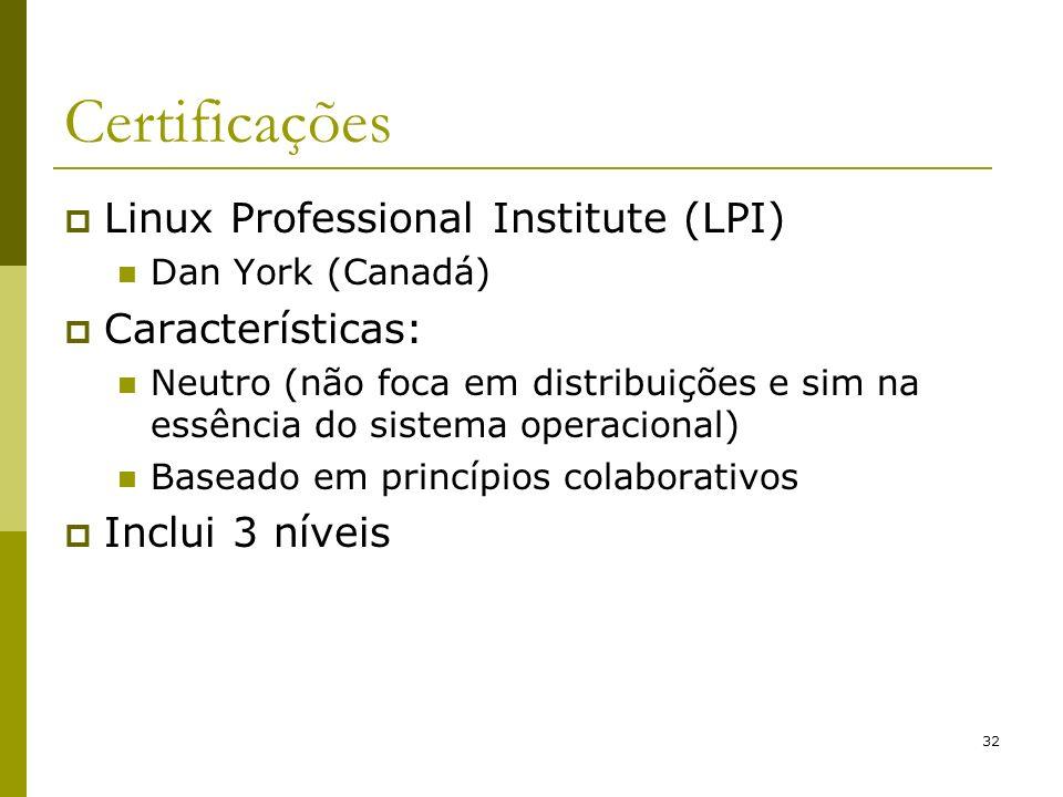 32 Certificações Linux Professional Institute (LPI) Dan York (Canadá) Características: Neutro (não foca em distribuições e sim na essência do sistema