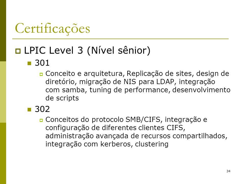 34 Certificações LPIC Level 3 (Nível sênior) 301 Conceito e arquitetura, Replicação de sites, design de diretório, migração de NIS para LDAP, integraç