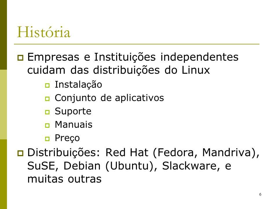 6 História Empresas e Institui ç ões independentes cuidam das distribui ç ões do Linux Instala ç ão Conjunto de aplicativos Suporte Manuais Pre ç o Di