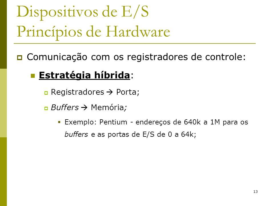 13 Dispositivos de E/S Princípios de Hardware Comunicação com os registradores de controle: Estratégia híbrida: Registradores Porta; Buffers Memória; Exemplo: Pentium - endereços de 640k a 1M para os buffers e as portas de E/S de 0 a 64k;