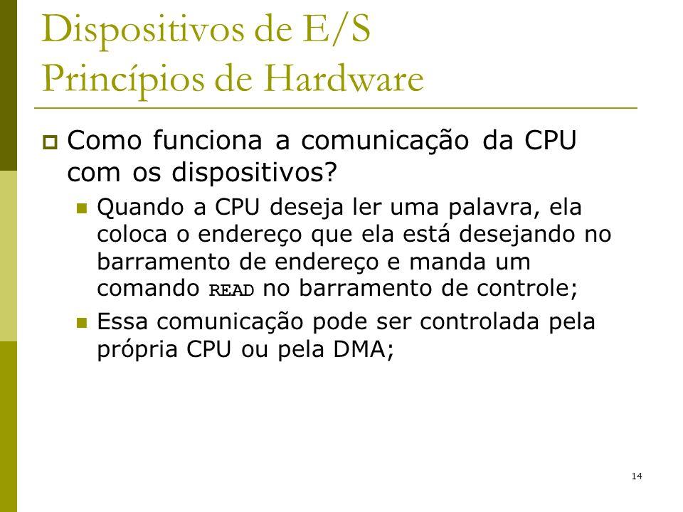 14 Dispositivos de E/S Princípios de Hardware Como funciona a comunicação da CPU com os dispositivos.