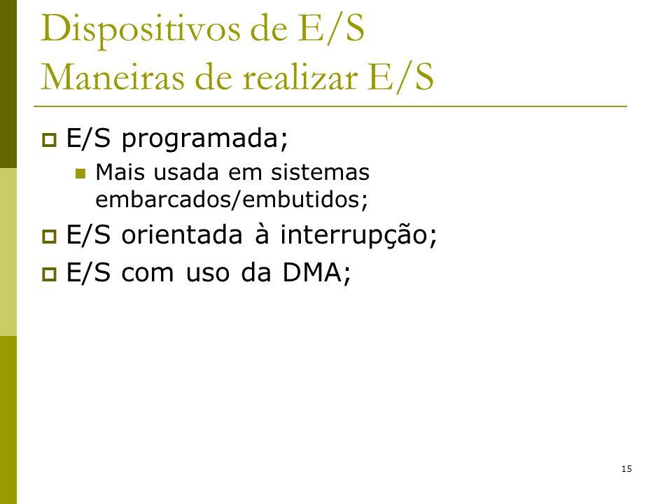 15 Dispositivos de E/S Maneiras de realizar E/S E/S programada; Mais usada em sistemas embarcados/embutidos; E/S orientada à interrupção; E/S com uso da DMA;