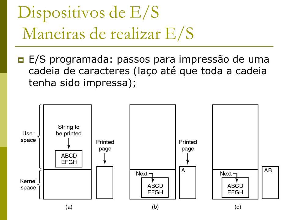 16 Dispositivos de E/S Maneiras de realizar E/S E/S programada: passos para impressão de uma cadeia de caracteres (laço até que toda a cadeia tenha sido impressa);