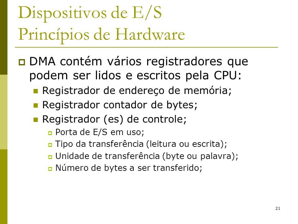 21 Dispositivos de E/S Princípios de Hardware DMA contém vários registradores que podem ser lidos e escritos pela CPU: Registrador de endereço de memória; Registrador contador de bytes; Registrador (es) de controle; Porta de E/S em uso; Tipo da transferência (leitura ou escrita); Unidade de transferência (byte ou palavra); Número de bytes a ser transferido;