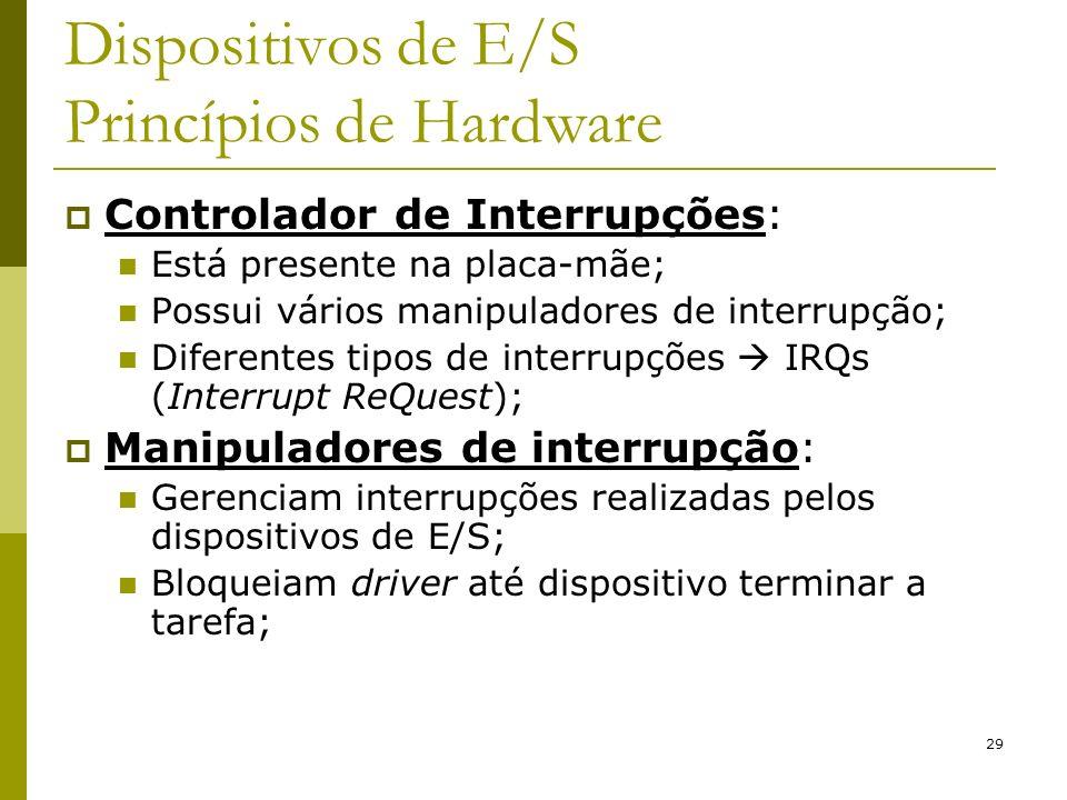 29 Dispositivos de E/S Princípios de Hardware Controlador de Interrupções: Está presente na placa-mãe; Possui vários manipuladores de interrupção; Diferentes tipos de interrupções IRQs (Interrupt ReQuest); Manipuladores de interrupção: Gerenciam interrupções realizadas pelos dispositivos de E/S; Bloqueiam driver até dispositivo terminar a tarefa;