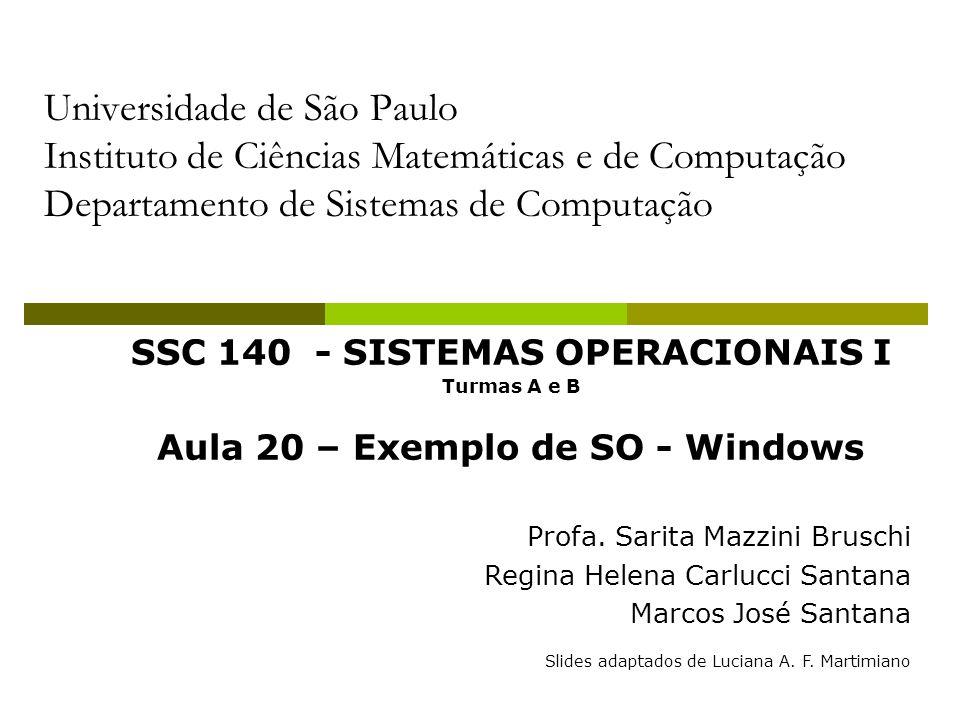 Universidade de São Paulo Instituto de Ciências Matemáticas e de Computação Departamento de Sistemas de Computação SSC 140 - SISTEMAS OPERACIONAIS I Turmas A e B Aula 20 – Exemplo de SO - Windows Profa.