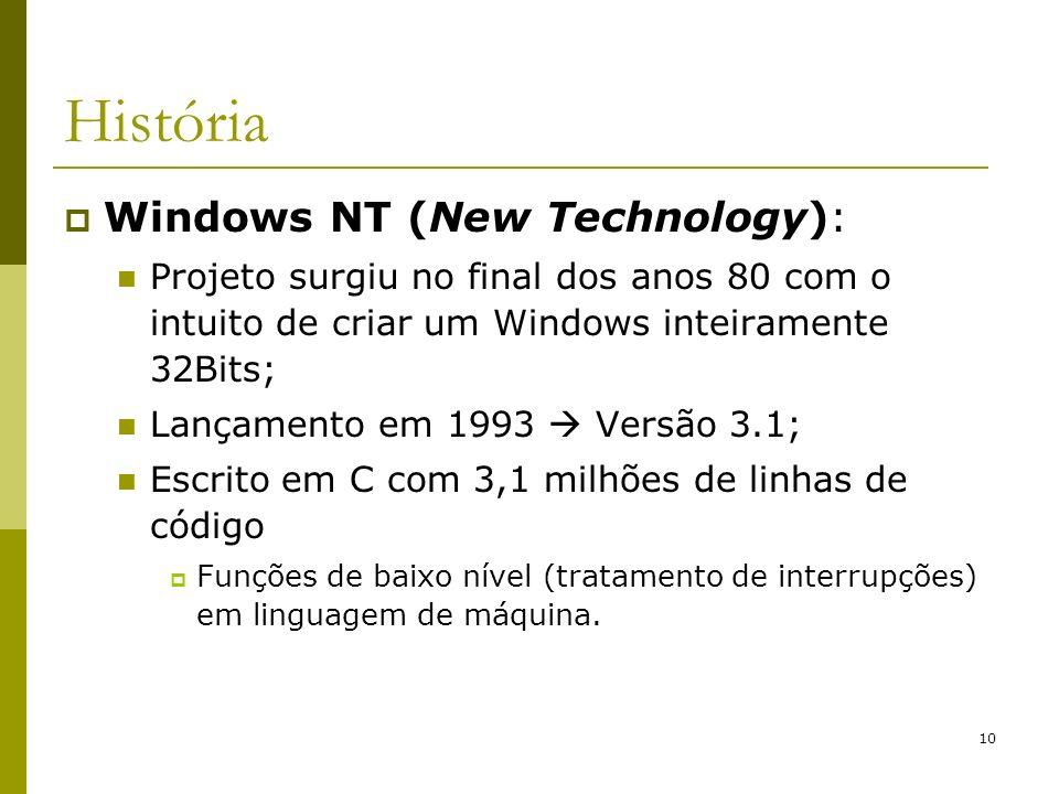 10 História Windows NT (New Technology): Projeto surgiu no final dos anos 80 com o intuito de criar um Windows inteiramente 32Bits; Lançamento em 1993 Versão 3.1; Escrito em C com 3,1 milhões de linhas de código Funções de baixo nível (tratamento de interrupções) em linguagem de máquina.