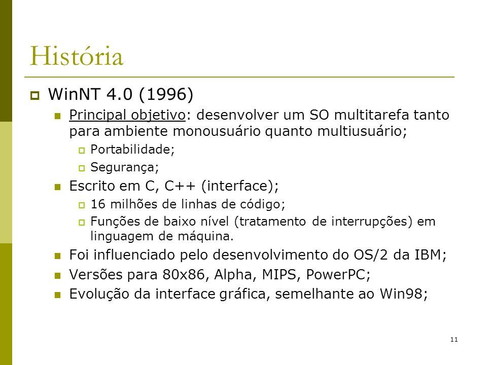 11 História WinNT 4.0 (1996) Principal objetivo: desenvolver um SO multitarefa tanto para ambiente monousuário quanto multiusuário; Portabilidade; Segurança; Escrito em C, C++ (interface); 16 milhões de linhas de código; Funções de baixo nível (tratamento de interrupções) em linguagem de máquina.
