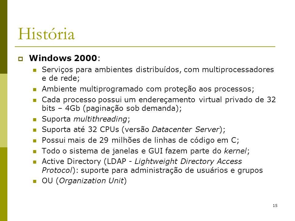 15 História Windows 2000: Serviços para ambientes distribuídos, com multiprocessadores e de rede; Ambiente multiprogramado com proteção aos processos; Cada processo possui um endereçamento virtual privado de 32 bits – 4Gb (paginação sob demanda); Suporta multithreading; Suporta até 32 CPUs (versão Datacenter Server); Possui mais de 29 milhões de linhas de código em C; Todo o sistema de janelas e GUI fazem parte do kernel; Active Directory (LDAP - Lightweight Directory Access Protocol): suporte para administração de usuários e grupos OU (Organization Unit)