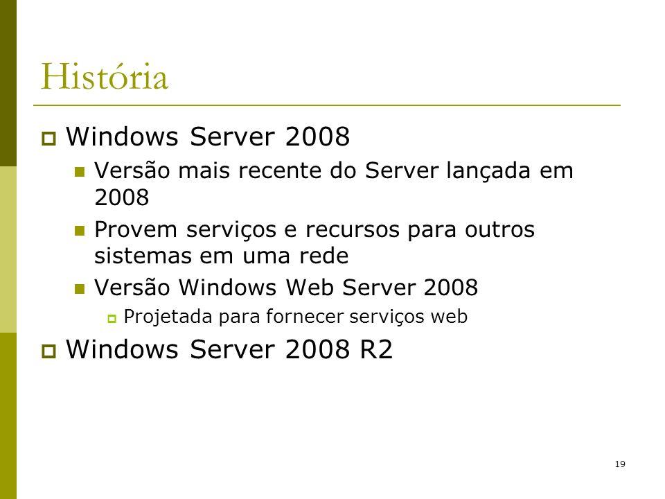 19 História Windows Server 2008 Versão mais recente do Server lançada em 2008 Provem serviços e recursos para outros sistemas em uma rede Versão Windows Web Server 2008 Projetada para fornecer serviços web Windows Server 2008 R2