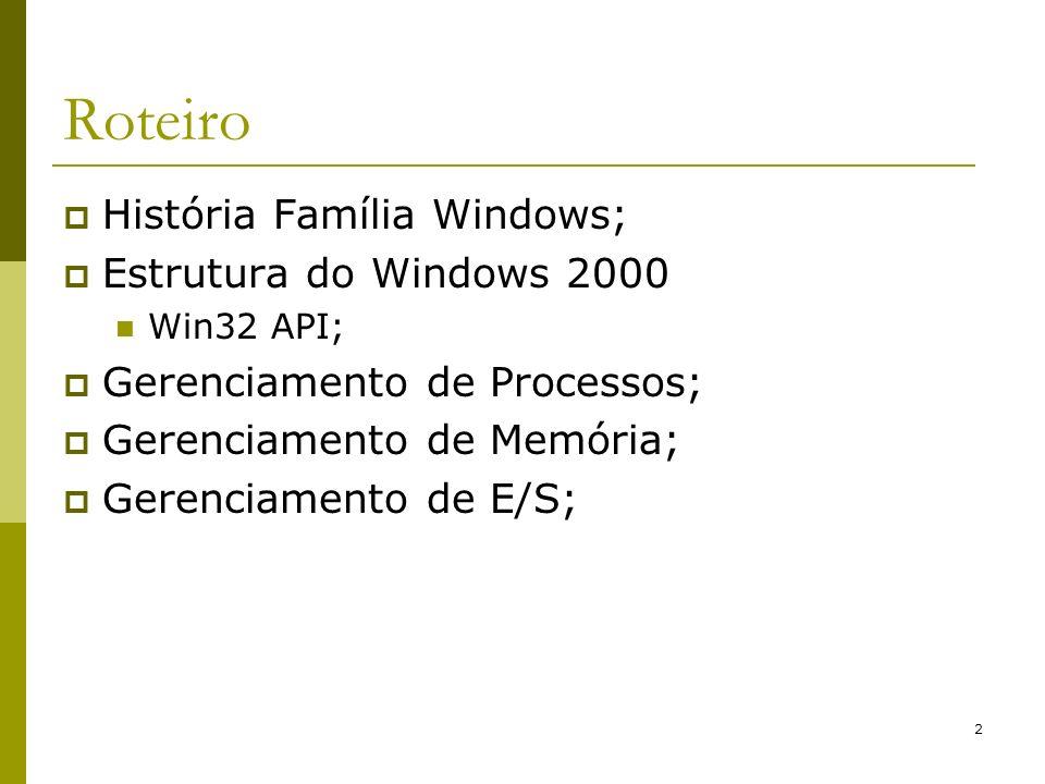 33 Estrutura do Windows 2000 Executivo: implementa os serviços básicos do Win2000 (gerenciadores): Gerenciador de Objetos: tipos de dados utilizados para representar os recursos do sistema, como: processos, threads, alocação de memória, etc.; Gerenciador de E/S (onde estão os drivers); Rede; PnP; Energia; Configuração; Caching;