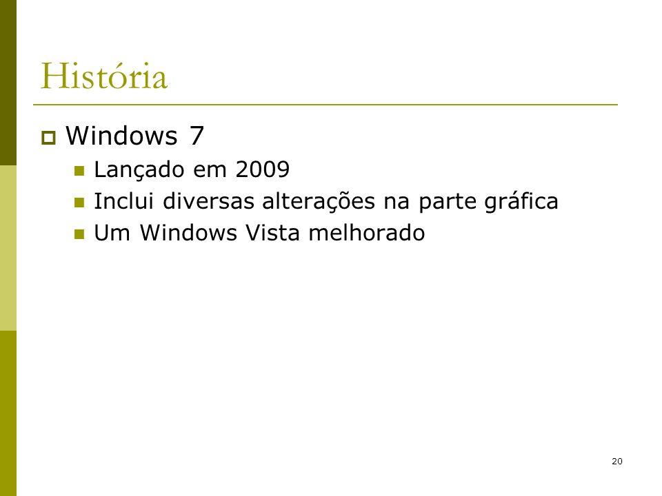 20 História Windows 7 Lançado em 2009 Inclui diversas alterações na parte gráfica Um Windows Vista melhorado