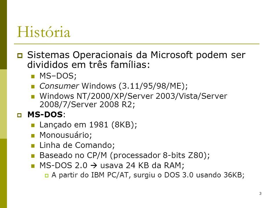 4 História MS-DOS: Todos os programas executavam no mesmo espaço de endereçamento (um bug em qualquer um deles trava o sistema inteiro); Em todas as versões, a interface jamais foi mudada; Interface gráfica: Windows 1.0 (1985); Windows 2.0 (1987); Windows 3.0 (1990 para 386); Windows 3.1 e 3.11 (sucesso); Inspirada no Apple Lisa (precursor Apple Macintosh);