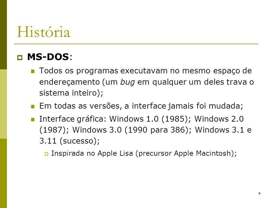 35 Estrutura do Windows 2000 Environment Subsystem e DLL (Dynamic Link Library): servem ao modo usuário, provendo interface entre processos e chamadas do sistema; DLL´s evitam que programas criem cópias para si de uma mesma função, evitando consumo de memória;