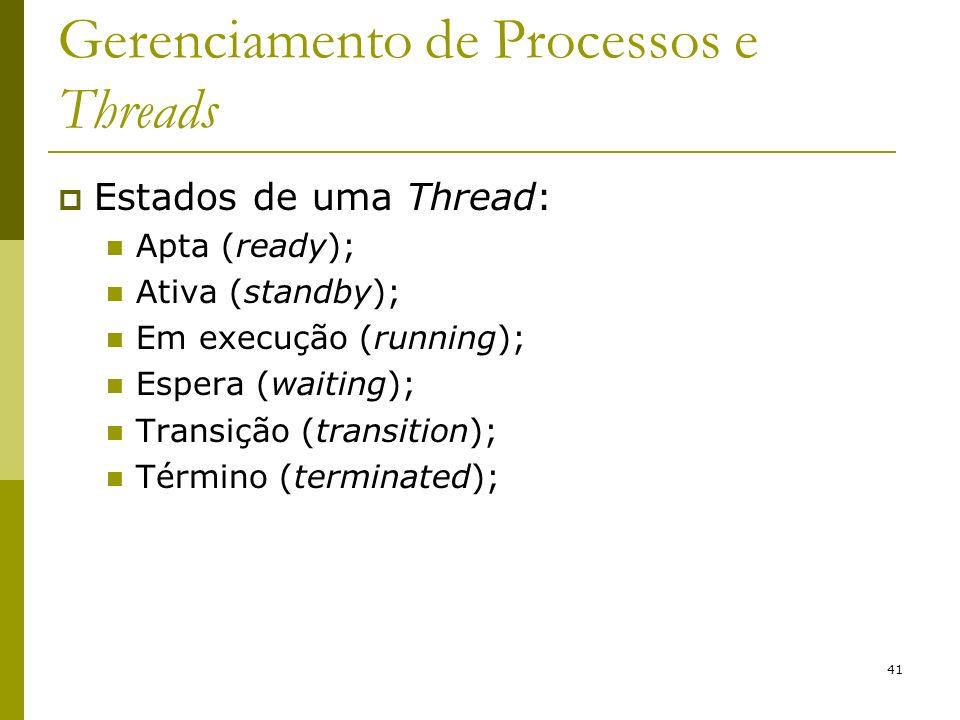 41 Gerenciamento de Processos e Threads Estados de uma Thread: Apta (ready); Ativa (standby); Em execução (running); Espera (waiting); Transição (transition); Término (terminated);