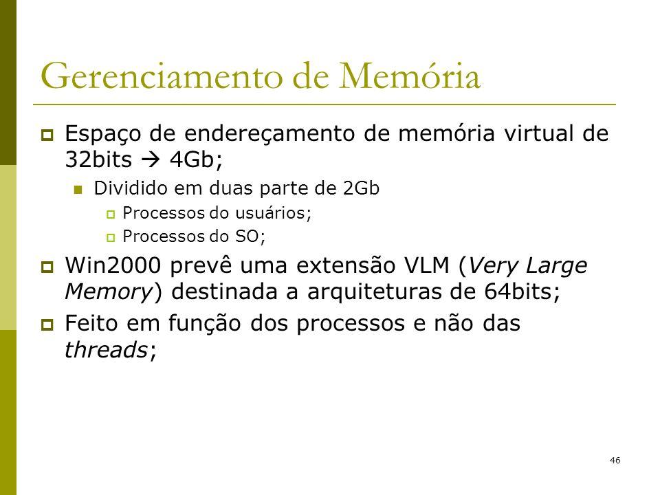 46 Gerenciamento de Memória Espaço de endereçamento de memória virtual de 32bits 4Gb; Dividido em duas parte de 2Gb Processos do usuários; Processos do SO; Win2000 prevê uma extensão VLM (Very Large Memory) destinada a arquiteturas de 64bits; Feito em função dos processos e não das threads;