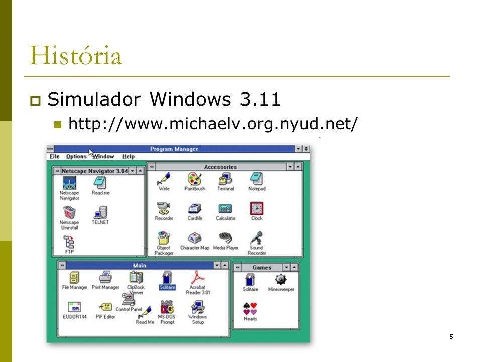 6 História Windows 95: Surgiu em 1995; Ainda tinha o MS-DOS, versão 7.0; Era um ambiente gráfico (shell) Possuia todas as características de um SO, como memória virtual, multiprogramação e gerenciamento de processos; Não era totalmente 32 bits, tendo parte do código escrito em linguagem de montagem de 16bits para compatibilidade com MS-DOS; Ainda usava o sistema de arquivos do MS-DOS, sendo a única diferença a possibilidade de ter nomes mais longos