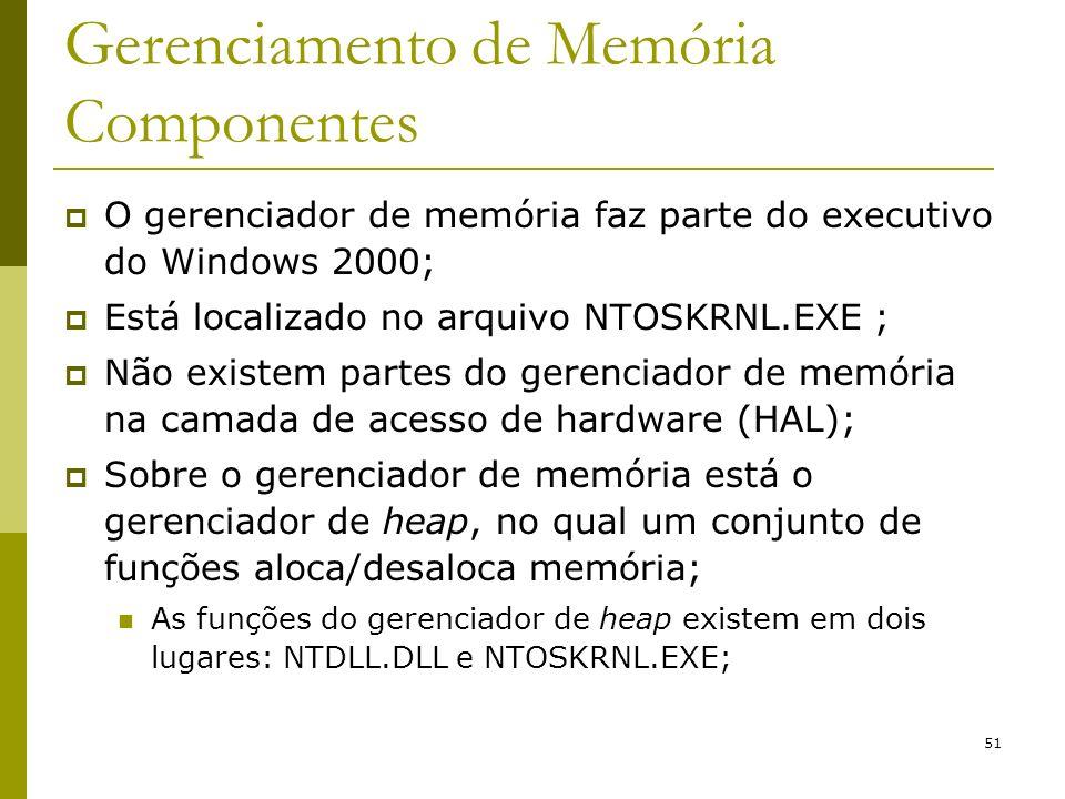 51 Gerenciamento de Memória Componentes O gerenciador de memória faz parte do executivo do Windows 2000; Está localizado no arquivo NTOSKRNL.EXE ; Não existem partes do gerenciador de memória na camada de acesso de hardware (HAL); Sobre o gerenciador de memória está o gerenciador de heap, no qual um conjunto de funções aloca/desaloca memória; As funções do gerenciador de heap existem em dois lugares: NTDLL.DLL e NTOSKRNL.EXE;