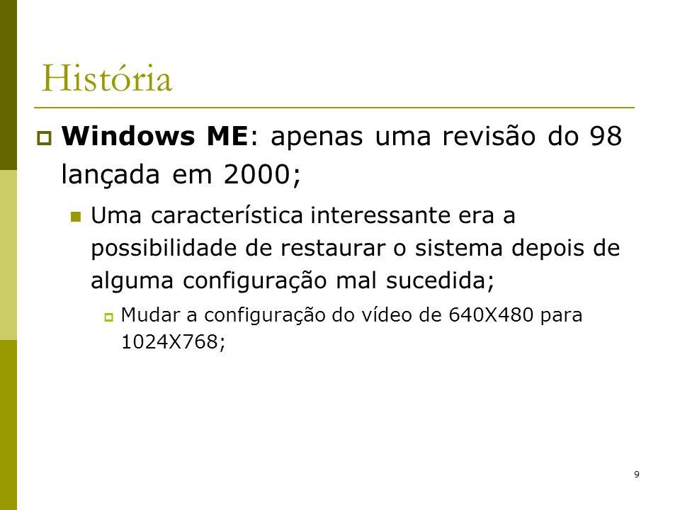 9 História Windows ME: apenas uma revisão do 98 lançada em 2000; Uma característica interessante era a possibilidade de restaurar o sistema depois de alguma configuração mal sucedida; Mudar a configuração do vídeo de 640X480 para 1024X768;