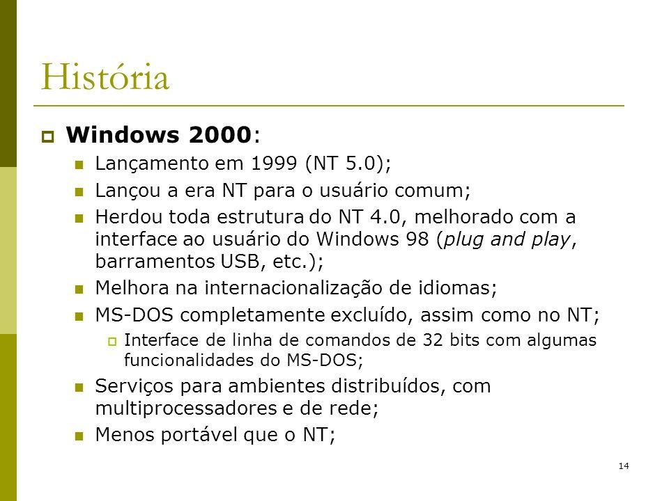 14 História Windows 2000: Lançamento em 1999 (NT 5.0); Lançou a era NT para o usuário comum; Herdou toda estrutura do NT 4.0, melhorado com a interfac
