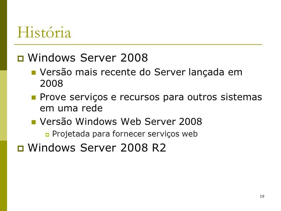 19 História Windows Server 2008 Versão mais recente do Server lançada em 2008 Prove serviços e recursos para outros sistemas em uma rede Versão Window