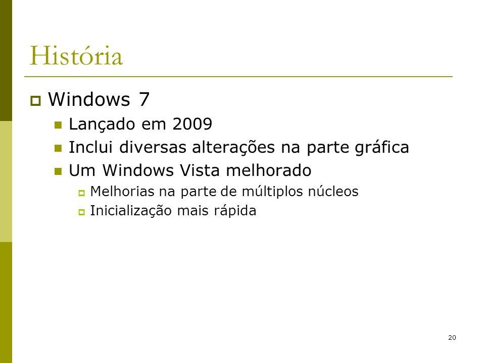 20 História Windows 7 Lançado em 2009 Inclui diversas alterações na parte gráfica Um Windows Vista melhorado Melhorias na parte de múltiplos núcleos I