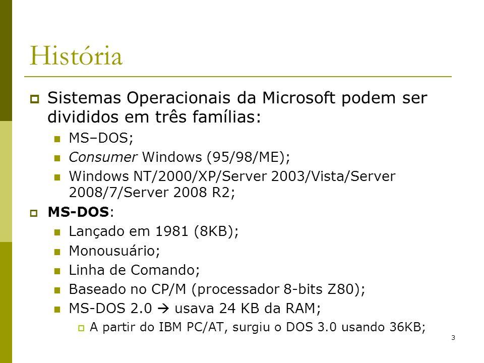 3 História Sistemas Operacionais da Microsoft podem ser divididos em três famílias: MS–DOS; Consumer Windows (95/98/ME); Windows NT/2000/XP/Server 200