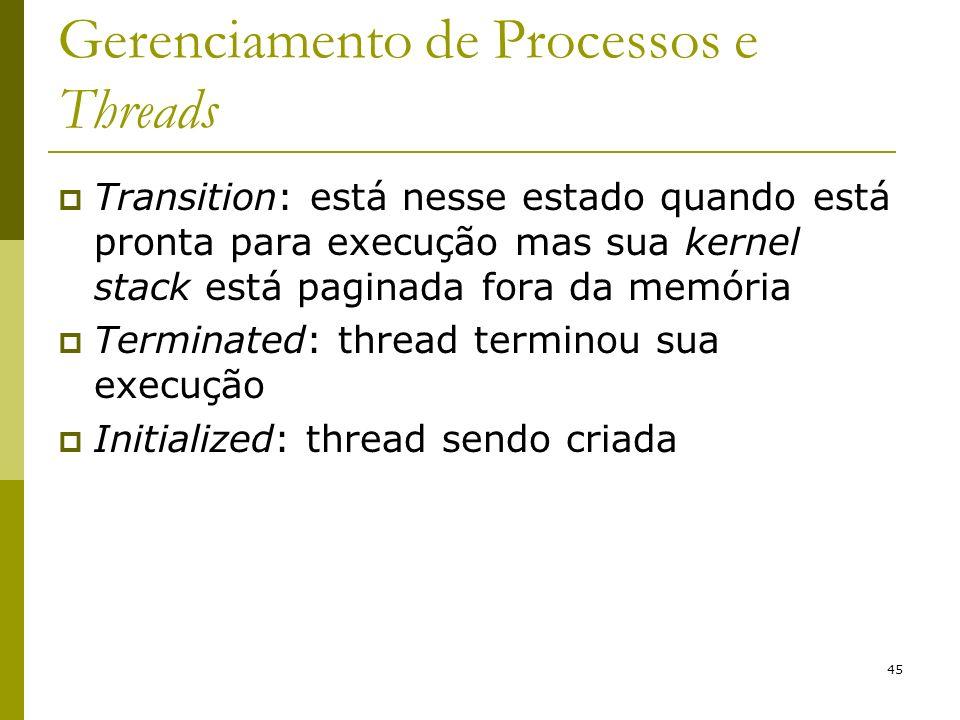 Gerenciamento de Processos e Threads Transition: está nesse estado quando está pronta para execução mas sua kernel stack está paginada fora da memória