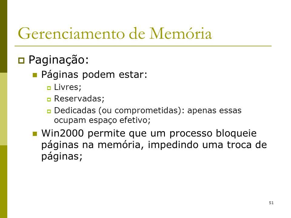 51 Gerenciamento de Memória Paginação: Páginas podem estar: Livres; Reservadas; Dedicadas (ou comprometidas): apenas essas ocupam espaço efetivo; Win2