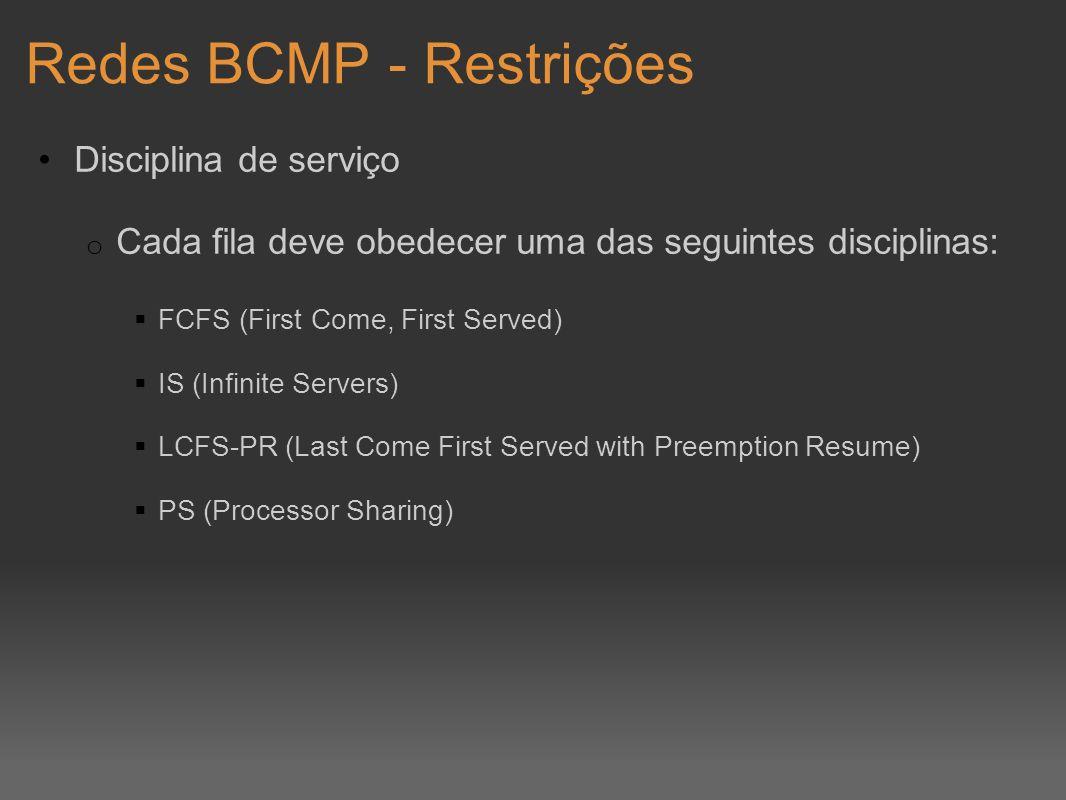 Redes BCMP - Restrições Disciplina de serviço o Cada fila deve obedecer uma das seguintes disciplinas: FCFS (First Come, First Served) IS (Infinite Se