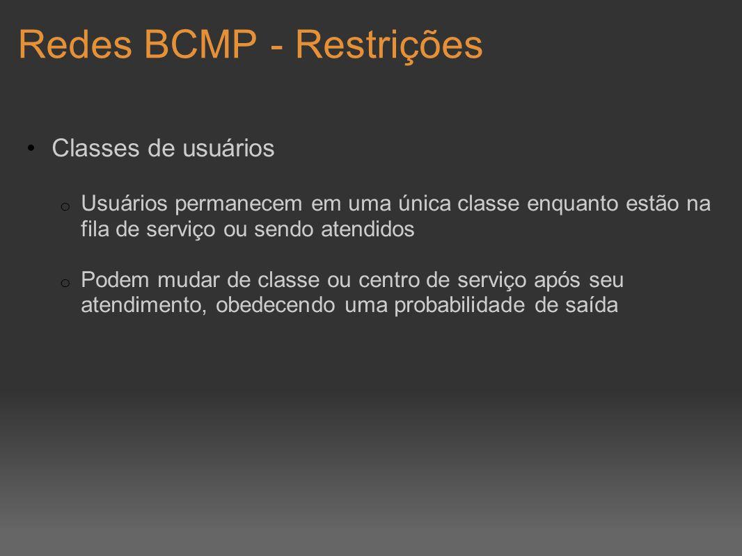 Redes BCMP - Restrições Classes de usuários o Usuários permanecem em uma única classe enquanto estão na fila de serviço ou sendo atendidos o Podem mud
