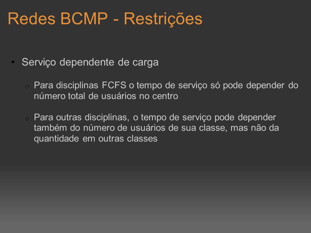 Redes BCMP - Restrições Serviço dependente de carga o Para disciplinas FCFS o tempo de serviço só pode depender do número total de usuários no centro