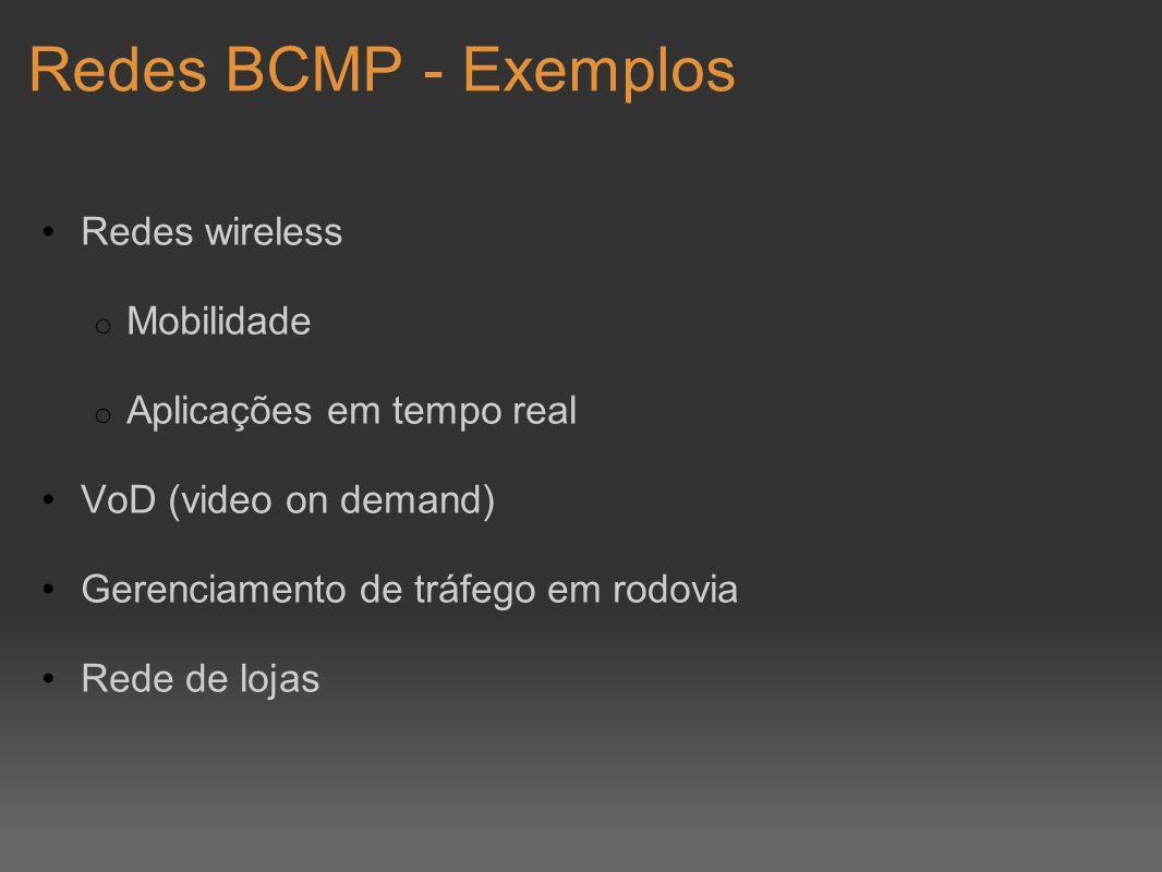 Redes BCMP - Exemplos Redes wireless o Mobilidade o Aplicações em tempo real VoD (video on demand) Gerenciamento de tráfego em rodovia Rede de lojas
