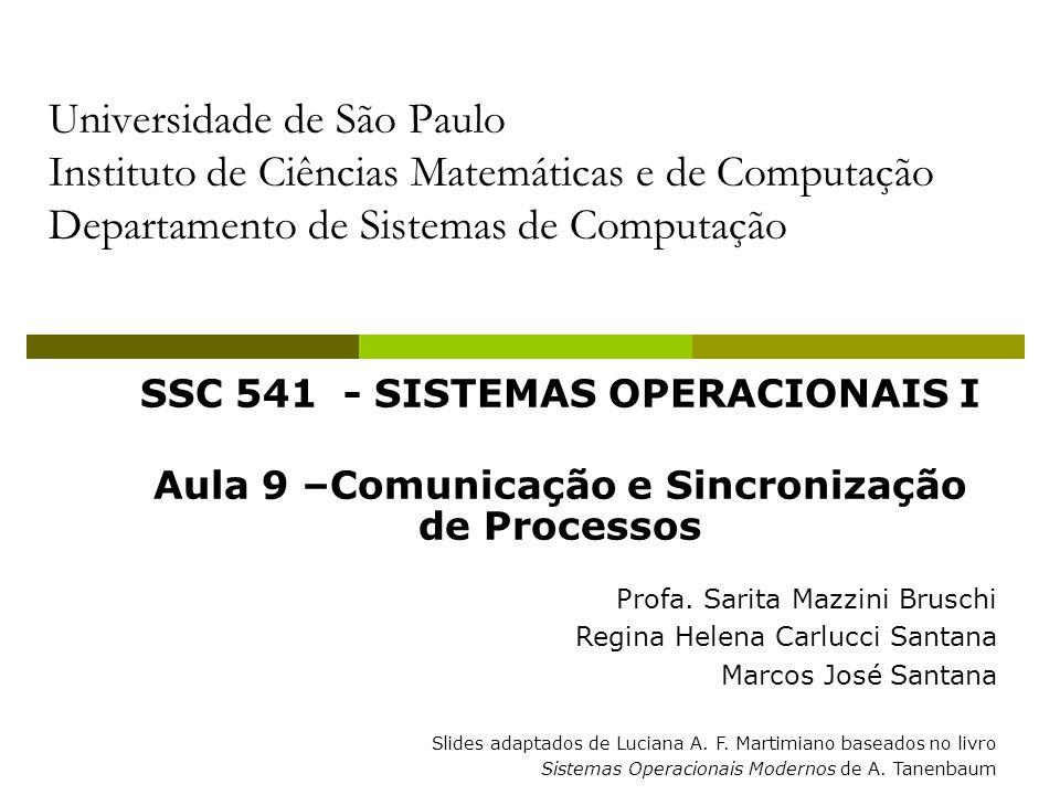 Universidade de São Paulo Instituto de Ciências Matemáticas e de Computação Departamento de Sistemas de Computação SSC 541 - SISTEMAS OPERACIONAIS I Aula 9 –Comunicação e Sincronização de Processos Profa.