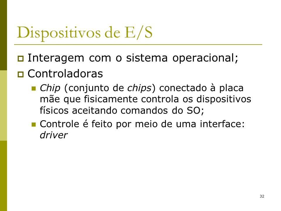 32 Dispositivos de E/S Interagem com o sistema operacional; Controladoras Chip (conjunto de chips) conectado à placa mãe que fisicamente controla os d