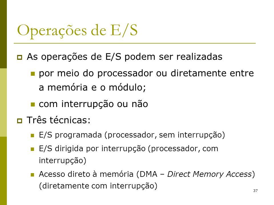 37 Operações de E/S As operações de E/S podem ser realizadas por meio do processador ou diretamente entre a memória e o módulo; com interrupção ou não