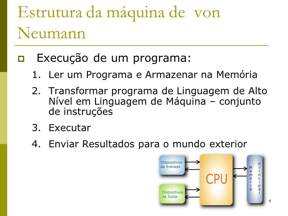 4 Estrutura da máquina de von Neumann Execução de um programa: 1.Ler um Programa e Armazenar na Memória 2.Transformar programa de Linguagem de Alto Ní