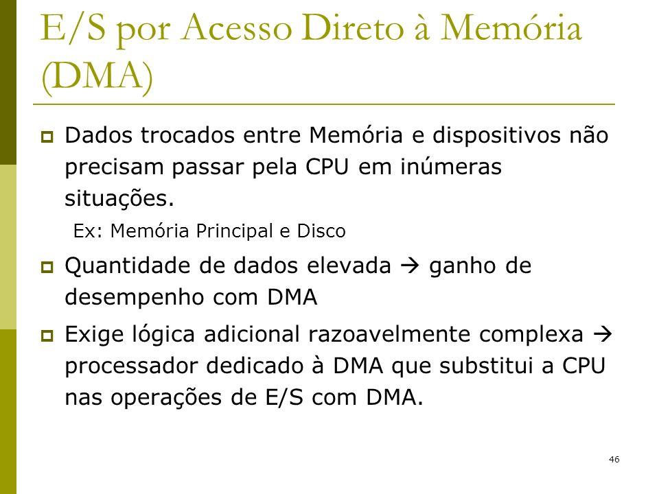 46 E/S por Acesso Direto à Memória (DMA) Dados trocados entre Memória e dispositivos não precisam passar pela CPU em inúmeras situações. Ex: Memória P