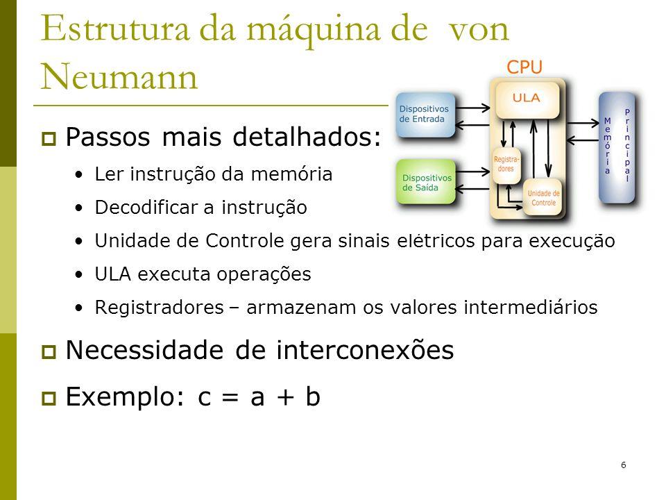 6 Passos mais detalhados: Ler instrução da memória Decodificar a instrução Unidade de Controle gera sinais elétricos para execução ULA executa operaçõ