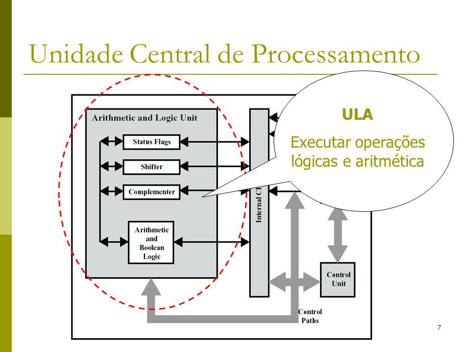 8 Unidade Central de Processamento Unidade de Controle coordena a execução da instrução na micro arquitetura/circuitos digitais