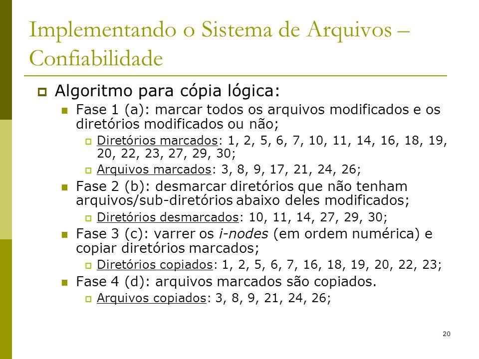20 Implementando o Sistema de Arquivos – Confiabilidade Algoritmo para cópia lógica: Fase 1 (a): marcar todos os arquivos modificados e os diretórios