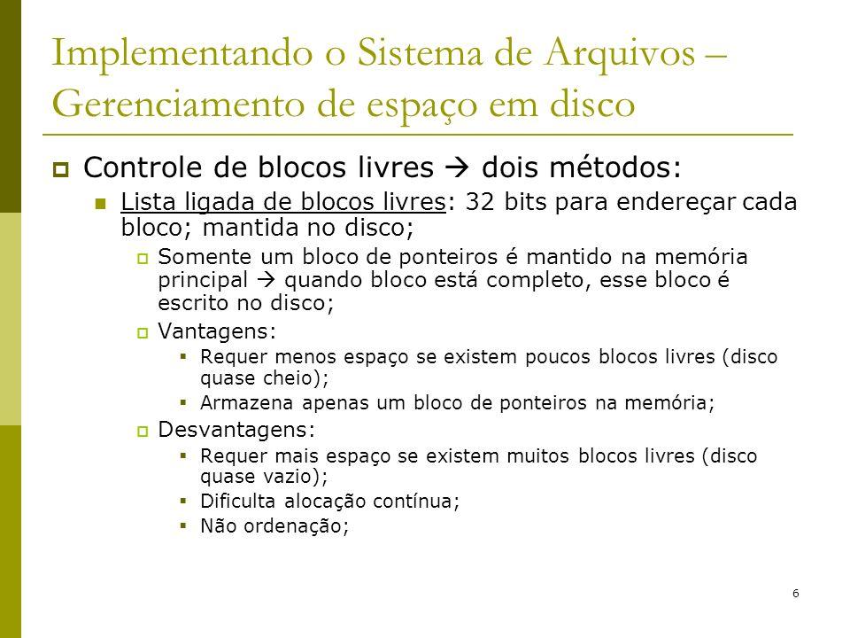 6 Implementando o Sistema de Arquivos – Gerenciamento de espaço em disco Controle de blocos livres dois métodos: Lista ligada de blocos livres: 32 bit