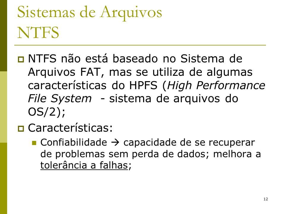 12 Sistemas de Arquivos NTFS NTFS não está baseado no Sistema de Arquivos FAT, mas se utiliza de algumas características do HPFS (High Performance Fil