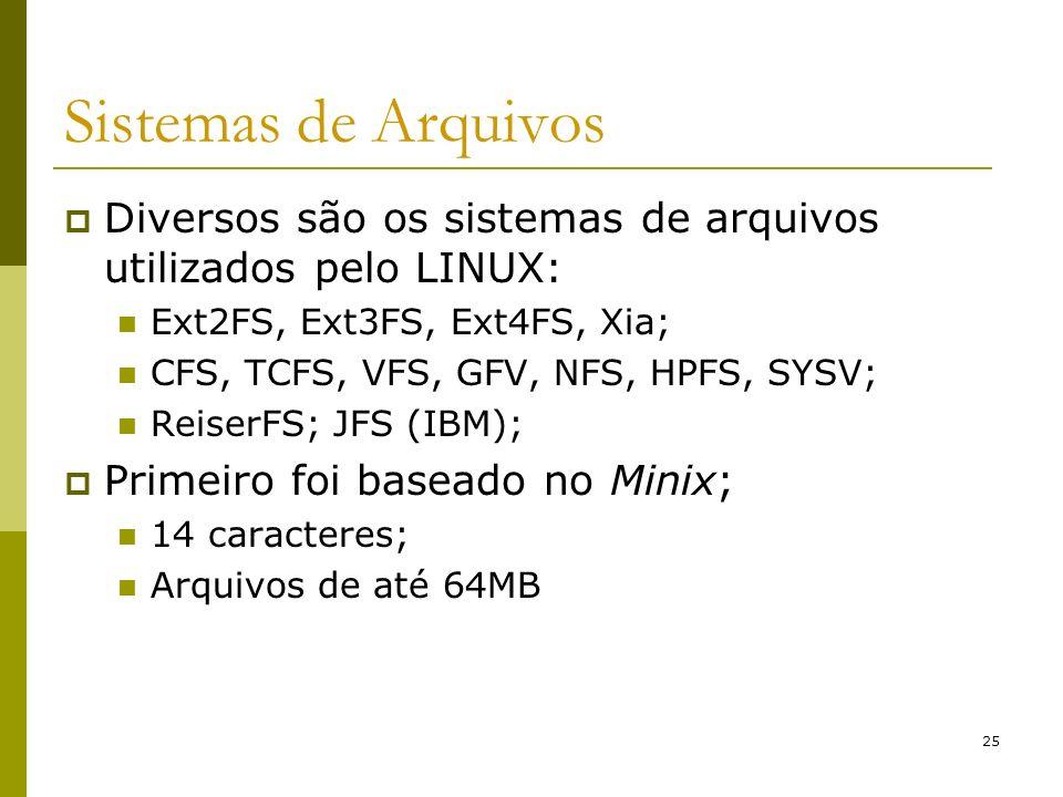 25 Sistemas de Arquivos Diversos são os sistemas de arquivos utilizados pelo LINUX: Ext2FS, Ext3FS, Ext4FS, Xia; CFS, TCFS, VFS, GFV, NFS, HPFS, SYSV;