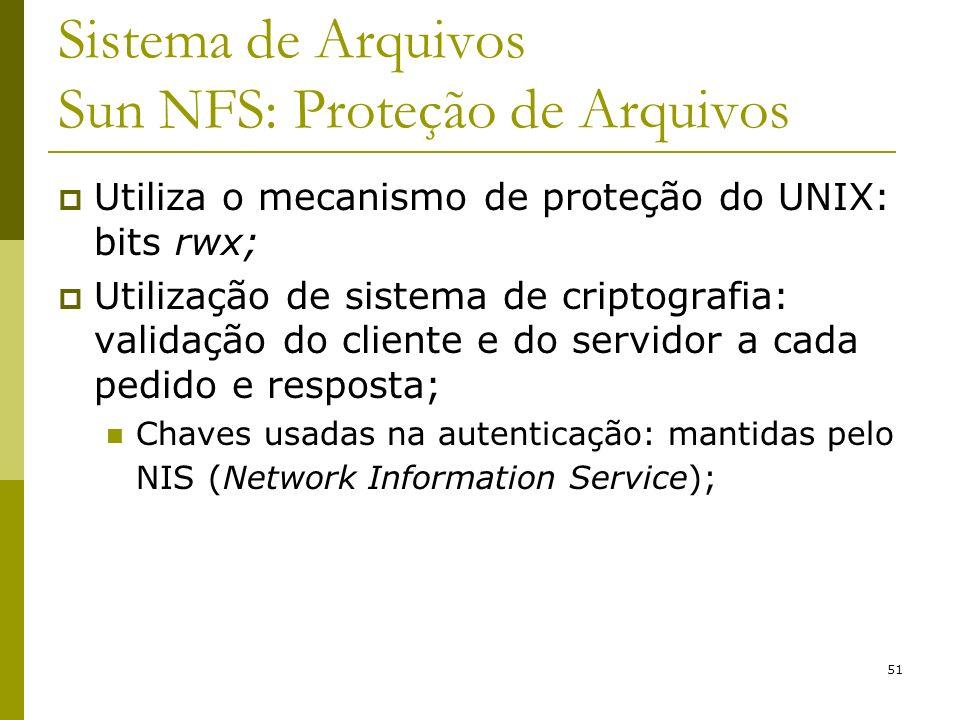 51 Sistema de Arquivos Sun NFS: Proteção de Arquivos Utiliza o mecanismo de proteção do UNIX: bits rwx; Utilização de sistema de criptografia: validaç