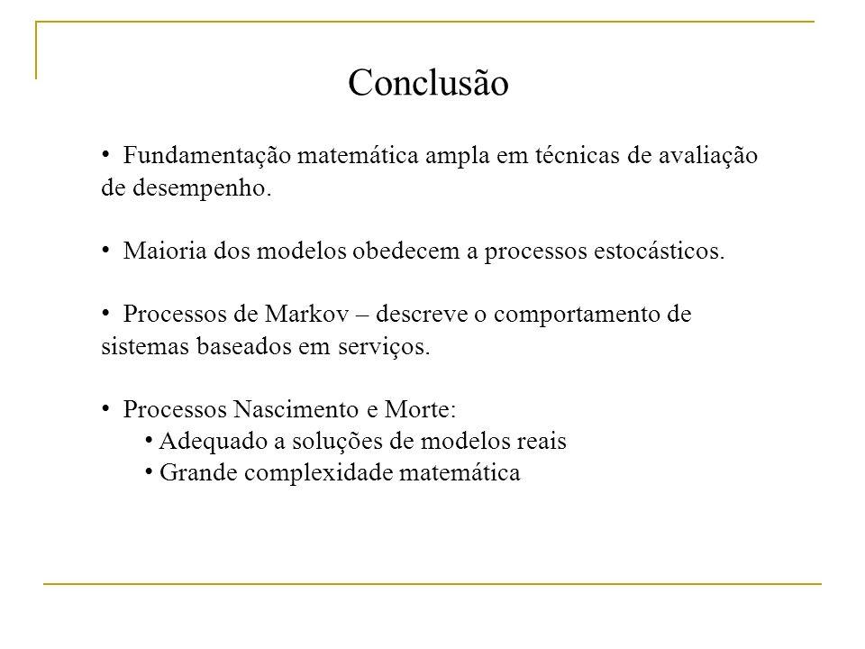 Conclusão Fundamentação matemática ampla em técnicas de avaliação de desempenho.