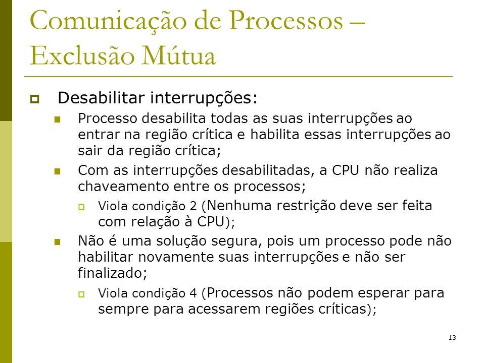 13 Comunicação de Processos – Exclusão Mútua Desabilitar interrupções: Processo desabilita todas as suas interrupções ao entrar na região crítica e ha